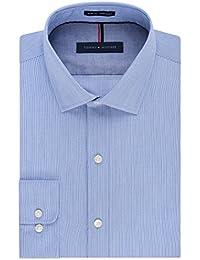 Men's Non Iron Slim Fit Stripe Spread Collar Dress Shirt