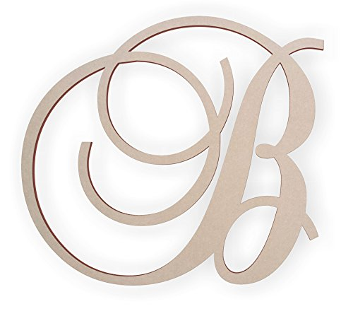 Hanging Wooden Wall Letters - Jess and Jessica Wooden Letter B, Wooden Monogram Wall Hanging, Large Wooden Letters, Cursive Wood Letter