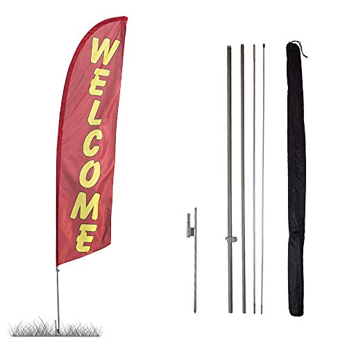 Vispronet - Welcome (Red) Feather Flag Kit - 13.5ft Swooper Flag with Pole Set and Ground Spike - Printed in The USA
