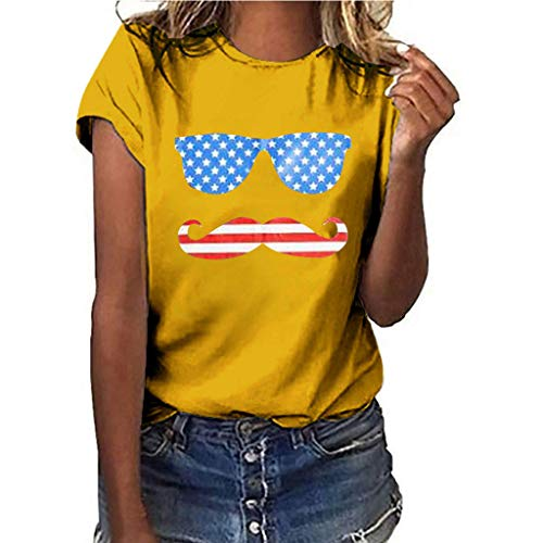 Women Girls Plus Size Lips Independence Day Print Shirt Short Sleeve T Shirt Blouse Tops(Yellow,XL)
