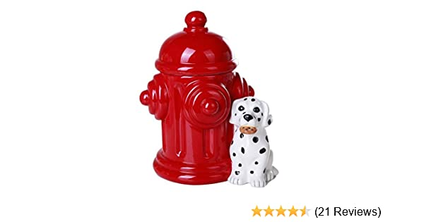Pacific Giftware Firehouse Dalmatians and Fire Hydrant Ceramic Cookie Jar Kitchen Counter Decor 8.5 Inch Tall