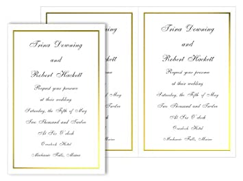 Amazon.com : 2up Printable Foil Border Invitation - White Gold, 25 ...