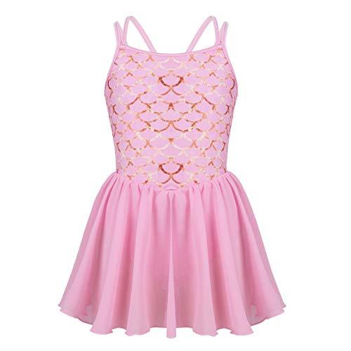 iEFiEL Girls Kids Camisole Ballet Dress Ballerina Empire Waist Leotard Skater Dance Costume Pink Fish Scales 6]()