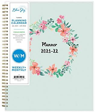 "Blue Sky 2021-2022 Academic Year Weekly & Monthly Planner, 8.5"" x 11"", Frosted Flexible Cover, Wirebound, Laurel (131947)"
