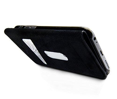 "wiiuka Echt Lederhülle Apple iPhone 6 (4.7"") im Wallet Design Schwarz mit Kartenfach klappbar extra Dünn Premium Leder Hülle"
