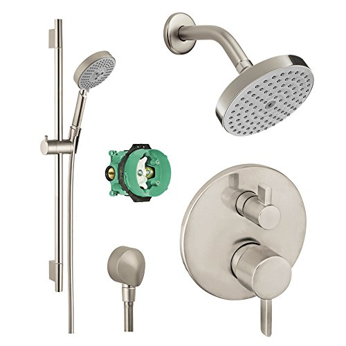 (Hansgrohe KSH04447-04342-66BN Raindance Shower Faucet Kit with Handshower Wallbar PBV Trim with Diverter and Rough, Brushed Nickel)