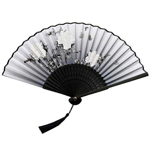 Uqiangy Holding Fans Bamboo for Women Hollowed (Grey)