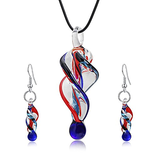Jardme Jewelry Sets Screw-Type Murano Inspiration Mix Twisted Lampwork Glass Necklace  ()
