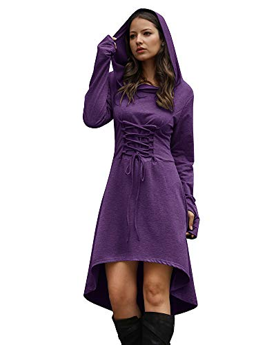 Jeanewpole1 Women Wizard Robe Costumes Hooded Long Sleeve High Low Lace Up Halloween Hoodie Dresses -