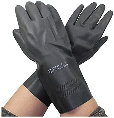 手袋 日常 実用 労働保護手袋保護化学作業手袋、1ペア (Color : Black, Size : L)