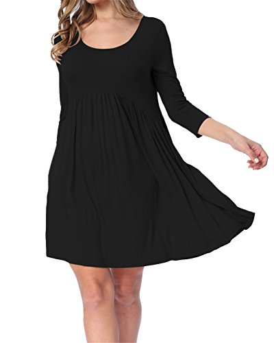 3/4 Sleeve Jacket Dress (LAINAB Womens Top Summer 3 4 Sleeve Loose Fit Swing Casual Tunic Dress Black)
