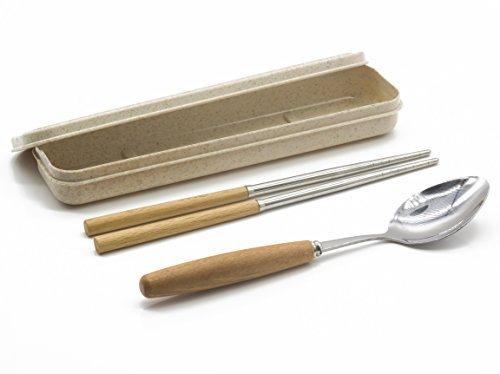 Genubi-2PCS Portable Flatware Spoon Chopsticks Tableware Set 410 Stainless Steel Dinnerware Silver with Travel Box