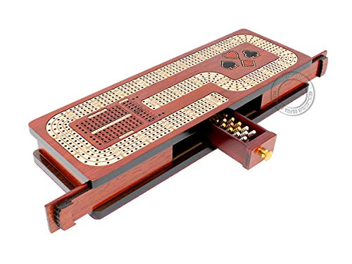 House of Cribbage - Continuous Cribbage Board / Box Inlaid in Blood Wood / Maple : 4 Track - Cards & Pegs Storage Drawer with Score Marking Fields for Skunks, Corners and Won Games ()