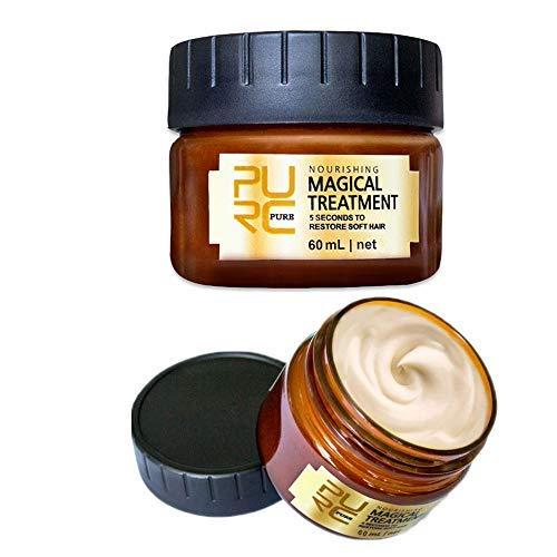 Professional PURC Magical keratin Hair Treatment Mask, Advanced Molecular Hair Root Treatment 5 Seconds Repairs Damage Hair Tonic Keratin Hair & Scalp Treatment, 60ml