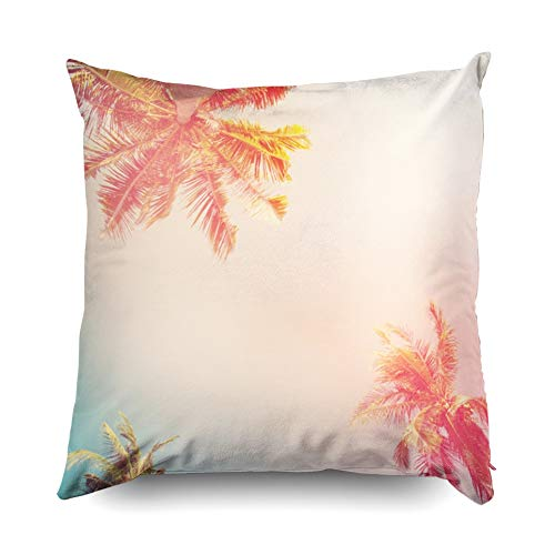 - Jacrane Easter Decorative Throw Pillowcase Cover 18X18 Inch Tropical Background Palm Trees Sun Light Holiday Travel Card Filter Pastel Art Gift Soft Cuddle Square Pillow Case with Zippered