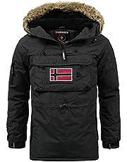 Geographical Norway heren pullover jas winterjas met capuchon - gevoerde warme parka - outdoor ski snowboard hoodie voor de winter/herfst in bundel met UD Beanie