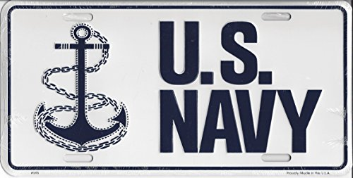 United States Navy U.S Navy Vehicle Aluminum License Plate Tag Navy Blue Raised Letters on White Background Displaying Anchor and Rope 6 x 12 Inches with Four Precut Mounting Bolt Slots for the Car... Display Proudly for the USA. Support Our Troops in the Military...