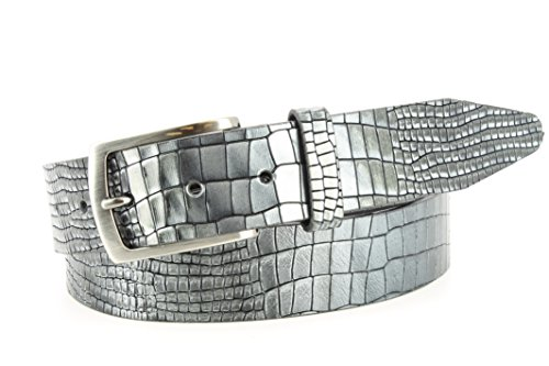 Remo Tulliani Men's 35mm Wide Dalton Embossed Lizard Italian Leather Dress Belt