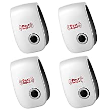 Pest Repeller - Peyou [4 PCS] Natural Harmless Professional Electronic Ultrasonic Pest Control Repeller Repels Roaches, Mice, Rats, Fly, Moths, Mosquito, Ants, Spiders, Bats, Rodents For Home Indoor