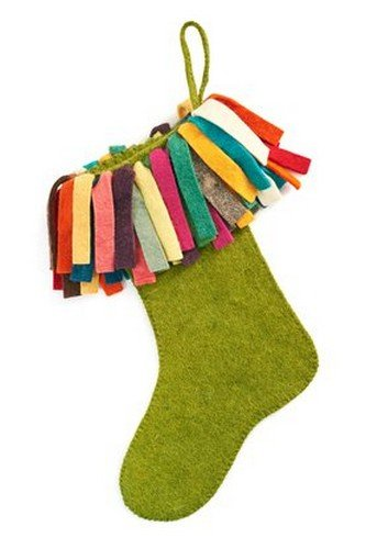 Arcadia Home S405 Hand Felted Wool Christmas Stocking, Green - Felted Wool Christmas Stocking