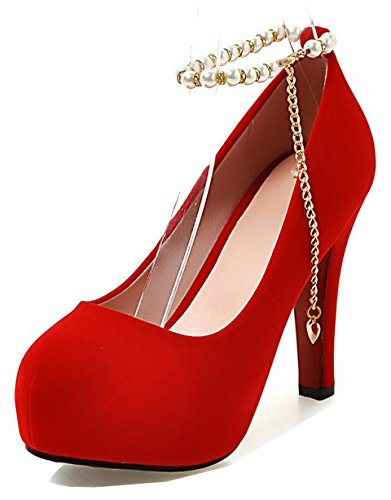 Aisun Women's Round Toe Pumps with Hidden Platform - Beaded Ankle Strap High Heel - Chain Chunky Shoes (Red, 7 B(M) US) ()