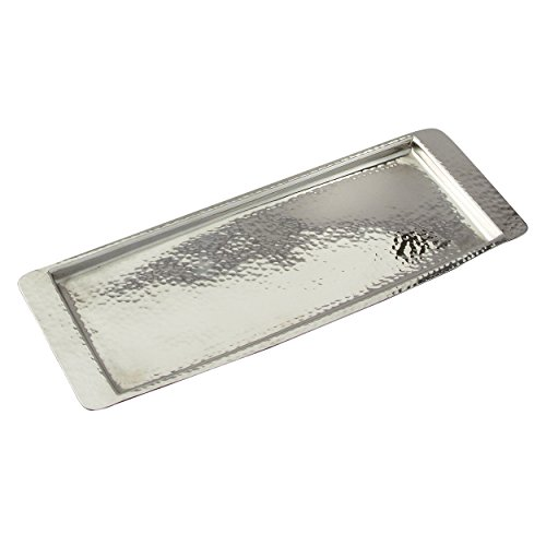 (Elegance Stainless Steel Hammered Rectangular Tray, Small, 13.75 by 4.5-Inch, Silver)