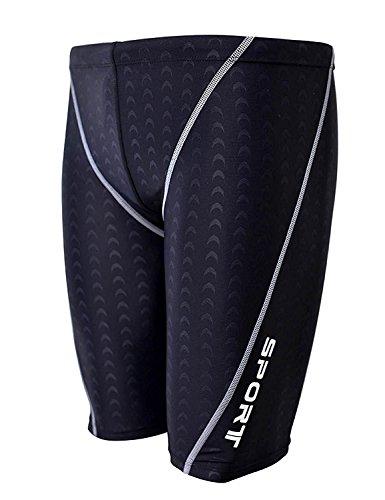 Srnfean Men`s Swimming Jammers Endurance+ Quick Dry Swimsuit Black Large (Triathlon Trunks)