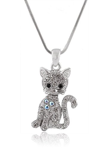 JOTW Silvertone Iced Out Cat with Heart Pendant with a 16 Inch Adjustable Snake Franco Chain Necklace (B-376)