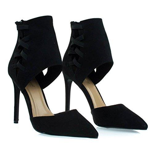 Cuff Dress Strap w Pump Cut Pointed Toe Elastic w DOrsay Ankle Black Height Yg5OqOxzw
