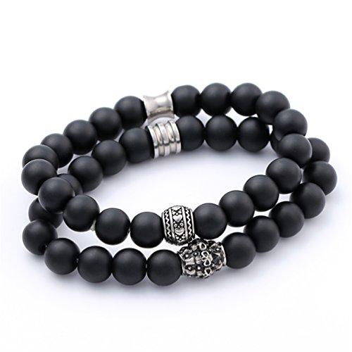 10mm Black Bead Stainless Steel Carved Motifs For Man Elastic Bracelet Adjustable XIAOLI (Black2)