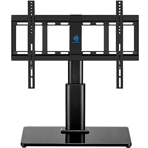 """HUANUO HN-TVS02 Swivel 32"""" to 60"""" LCD LED TVs Television Stand with Heavy-Duty Tempered Glass Base, 4 Level Height Adjustments, VESA Compatible up to 600x400"""