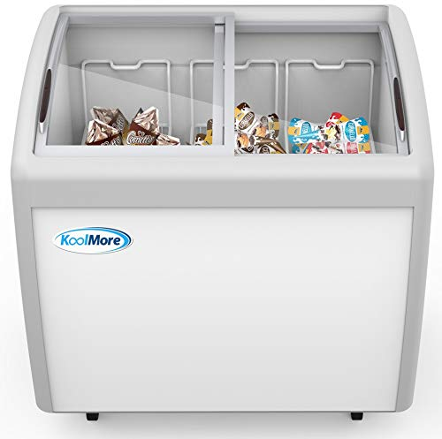KoolMore Commercial Ice Cream Freezer Display Case, Glass Top Chest Freezer with 3 Storage Baskets and Sliding Lid, Large 9 cu. ft. Capacity