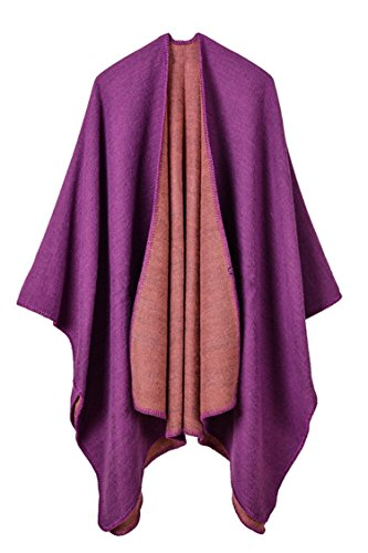 Pink Queen Women Oversized Cashmere Knitted Poncho Cape Cardigan Coat Shawl Wrap (Purple-728)