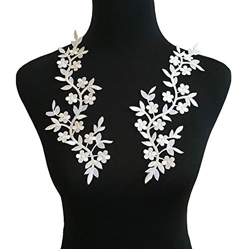 2pcs White Flowers Iron On Patches Garment Applique Embroidery DIY Accessory Cheongsam Skirt Clothes (White B)