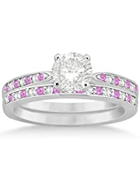 Pink Sapphire and Diamond Engagement Ring Set Palladium (0.55ct) (No center stone included)