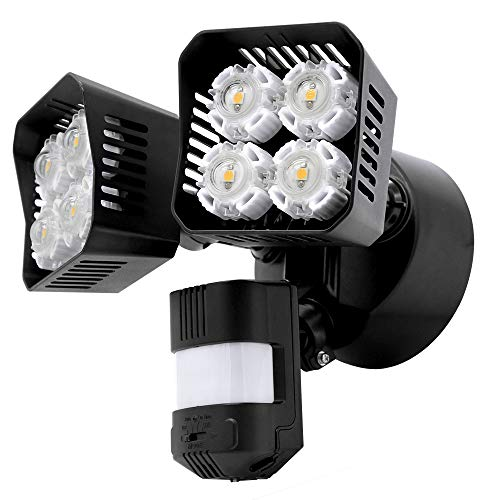 Upgraded SANSI LED Security Motion Sensor Outdoor Lights, 36W (250W Incandescent Equivalent) 3600lm, 5000K Daylight, Dusk to Dawn Waterproof Flood Light, ETL Listed, Black ()