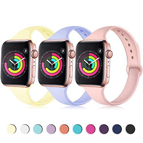 Zekapu Sport Band Compatible for Apple Watch 38mm 40mm, Soft Silicone Narrow Slim Sport Replacement Wristband for iWatch Series 4, Series 3, Series 2, Series 1 Women, Cream Yellow, Pink, Lilac]()