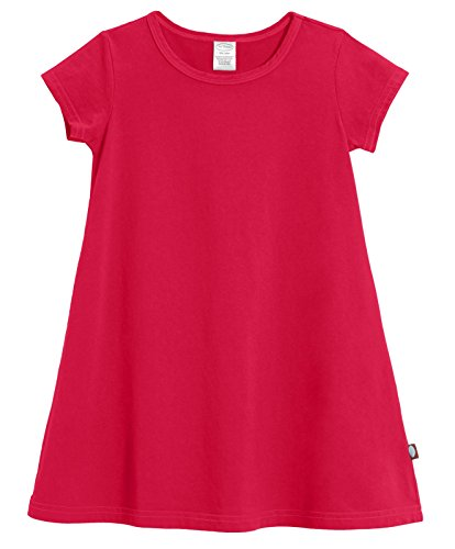 City Threads Baby Girls' Cotton Short Sleeve Cover Up Dress for Sensitive Skin SPD Sensory Friendly, Candy Apple Red, (Red Girls Dress)