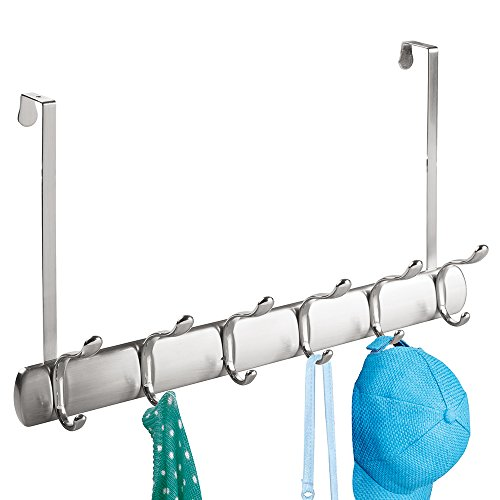 mDesign Over Door 12 Hook Storage Organizer Rack for Coats, Hoodies, Hats, Scarves, Purses, Leashes, Bath Towels & Robes - Brushed/Chrome Split Finish