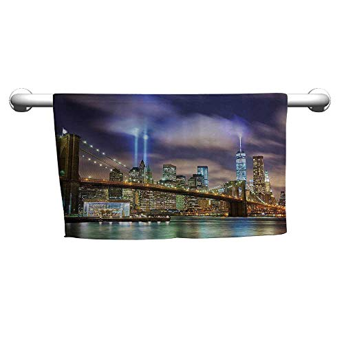 flybeek Valentines Apartment Decor,Manhattan Skyline with Brooklyn Bridge and The Towers of Lights in New York City,Puple Green,Hair Towel for Curly Hair (Apartments In New York City Manhattan For Sale)