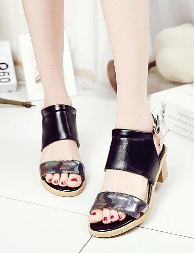 LFNLYX Zapatos de mujer-Tacón Robusto-D'Orsay y Dos Piezas / Punta Abierta-Sandalias-Boda / Vestido / Fiesta y Noche-Semicuero-Negro / Rosa / Black