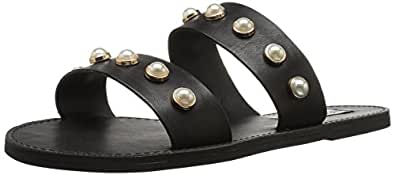 Steve Madden Women's Jole Flat Sandal, Black Leather, 5.5 M US