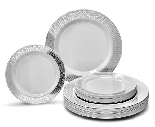 """ OCCASIONS"" 50 piece (25 guest)-Party Disposable Dinnerware Set - Wedding Plastic Plates for 25 guests (Diamond White/Silver)"
