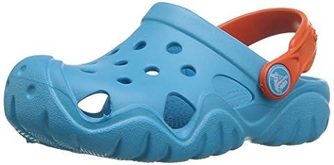 crocs Kids' Swiftwater K Clog (Toddler/Little Kid), Electric Blue/Tangerine, 6 M US Toddler - Blue Croc