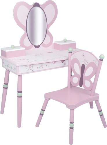 Olive Kids Butterfly Garden Vanity & Chair Set, Blue
