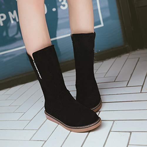 Wpew-Woherren Stiefel Größe Runden Runden Runden Kopf flachen Boden Plattform Damen Kurze Bein Stiefel 2ba209