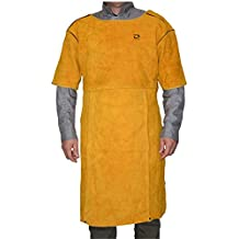 ZaoProteks ZP4001 Adjustable Size Cowhide Leather Heat Resistant Welding Apron, Work Apron, Work Apparel with Bib Pocket --- Fits all of you for Welding , Barbecue , Grinding , Woodturning and so on