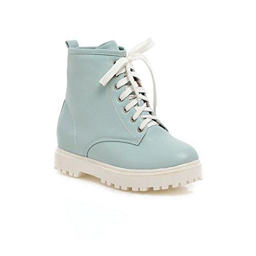 A & N Vrouwen Bandage Platform Vierkante Hielen Geïmiteerd Lederen Laarzen Blauw