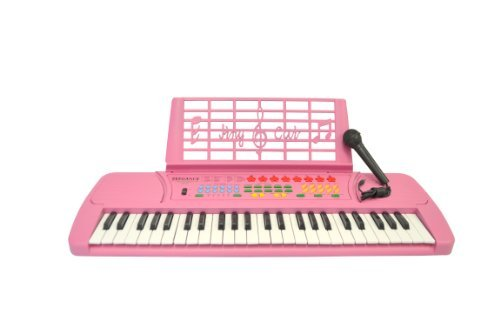 Pink 49 Key Kids Keyboard with Microphone and Music Book Holder- KB49 by De Rosa