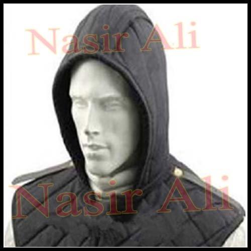 (Nasir Ali Medieval Renaissance Armor Padded Arming Cap Collar Head Neck Cotton Black SCA)